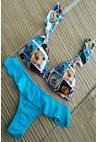 Biquini Estampado com Badados e Tanga Lisa Feminina Azul