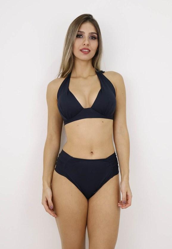 Biquini Meia Taça e Hot Pants Feminino Liso Preto
