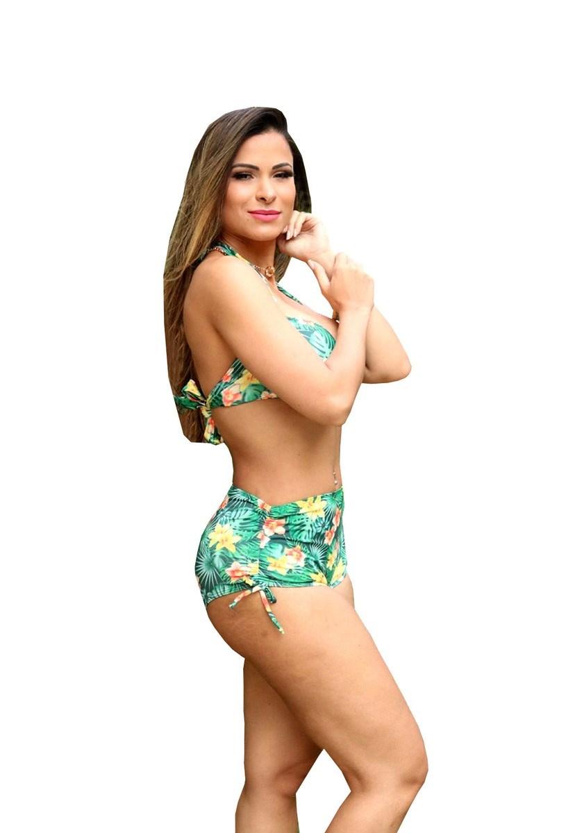 Biquíni Pink Tricot com Amarração Sukini Hot Pant Estampado Feminino Verde