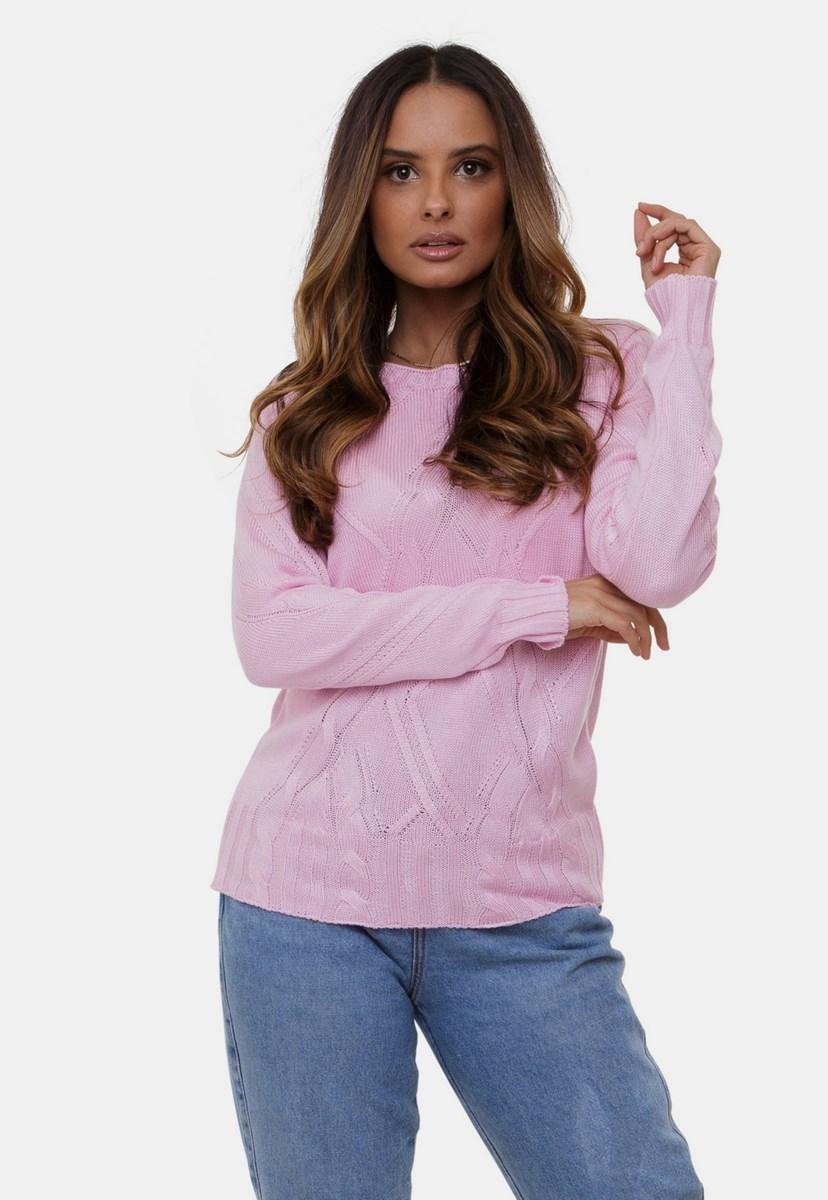 Blusa Bianca Pink Tricot Gola Redonda Com Trança de Tricô Feminina Rosa
