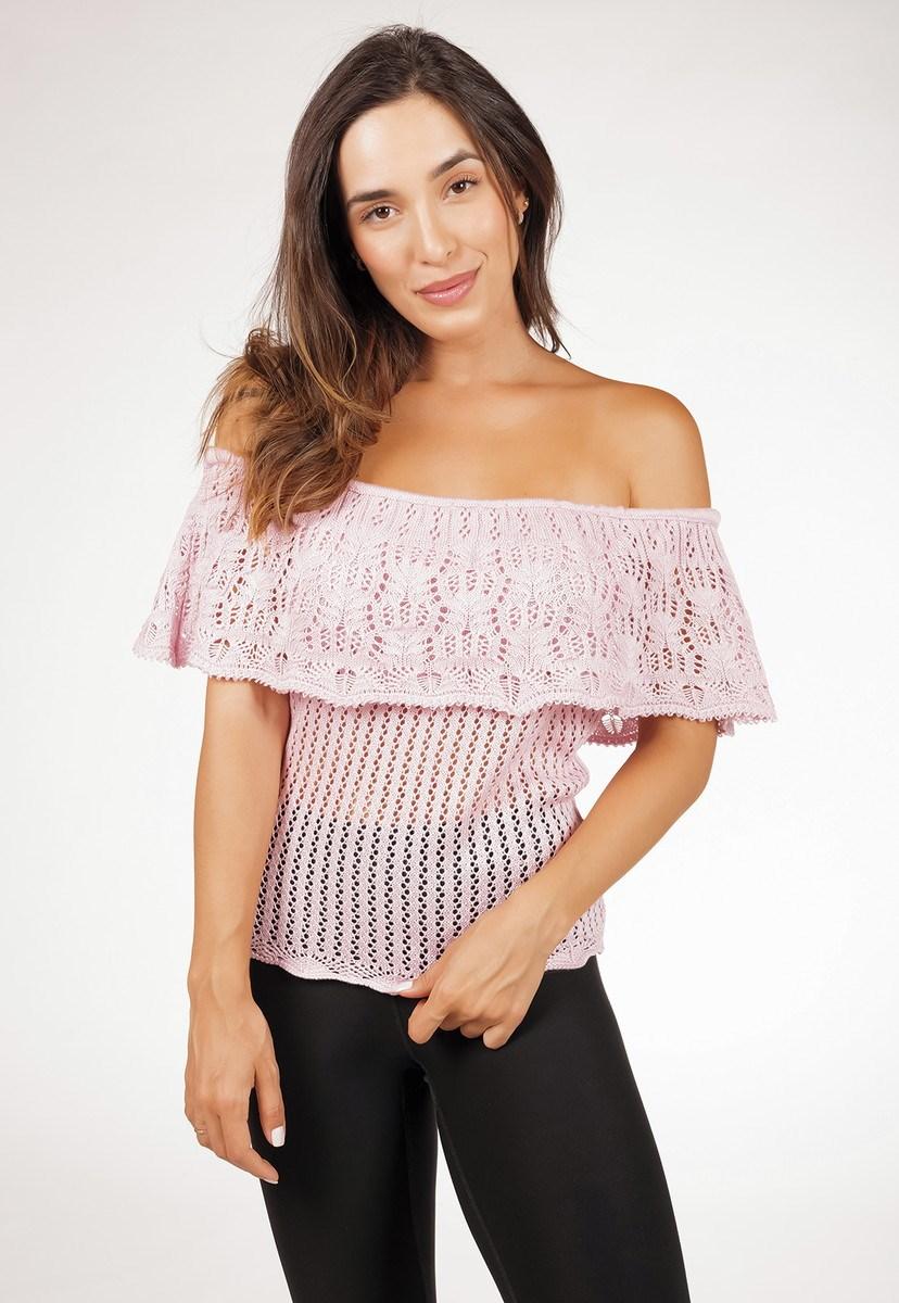 Blusa Ciganinha Pink Tricot De Tricô Rendada Feminina Rosa Claro