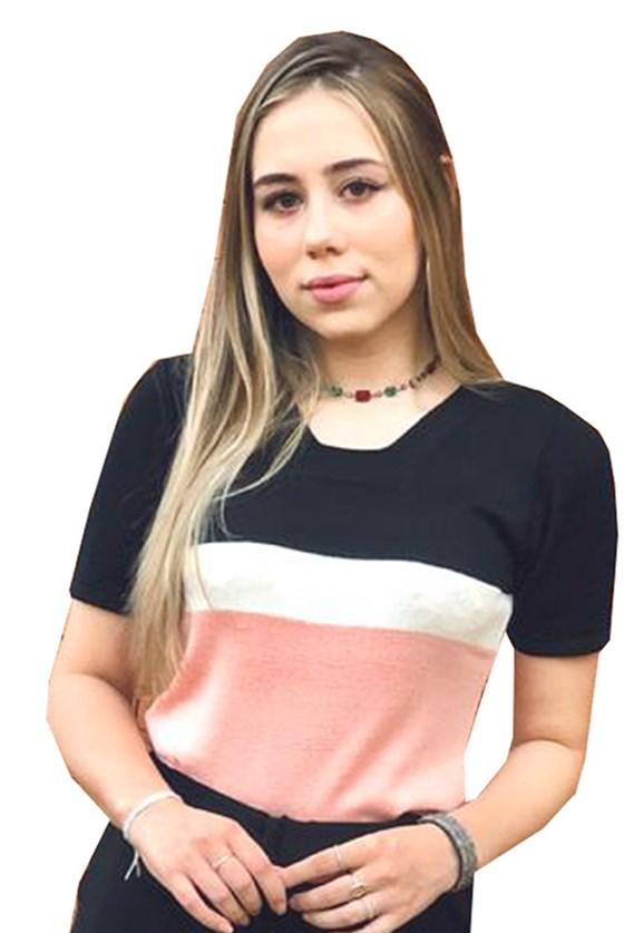Blusa Com Manga Curta Pink Tricot De Tricô Modal E Estampa Listrada Feminina Preto
