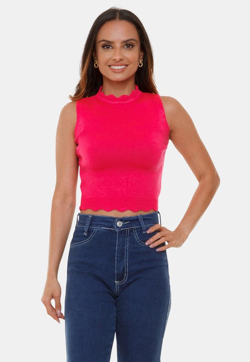 Blusa Cropped Pink Tricot  Manuela de Tricô Modal Decote Redondo e Gola Alta Feminino Pink