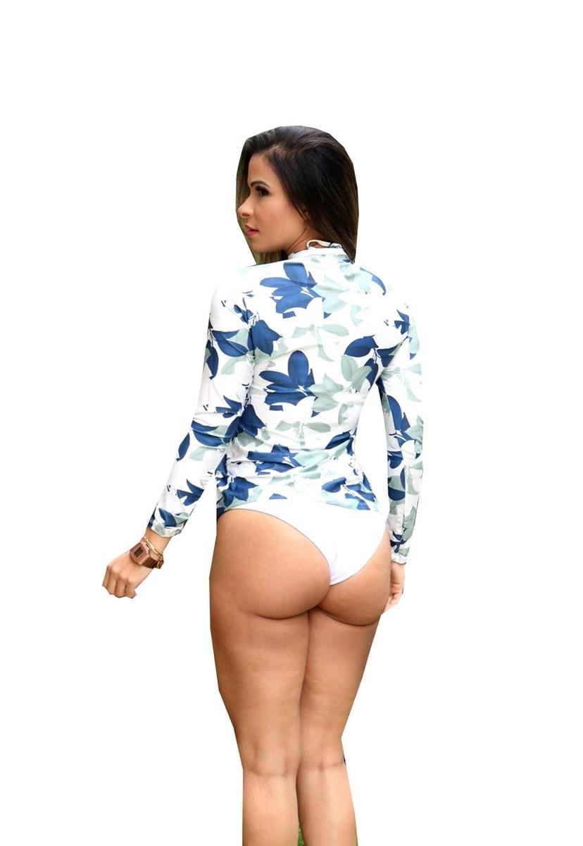 Blusa de Manga Longa Pink Tricot Com Proteção UV Estampa Floral Feminino Branco/Azul