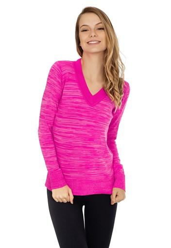 Produto Blusa de Tricô Blusa de Tricô Pink Tricot Manga Longa Suéter Mesclado Feminino Rosa Neon