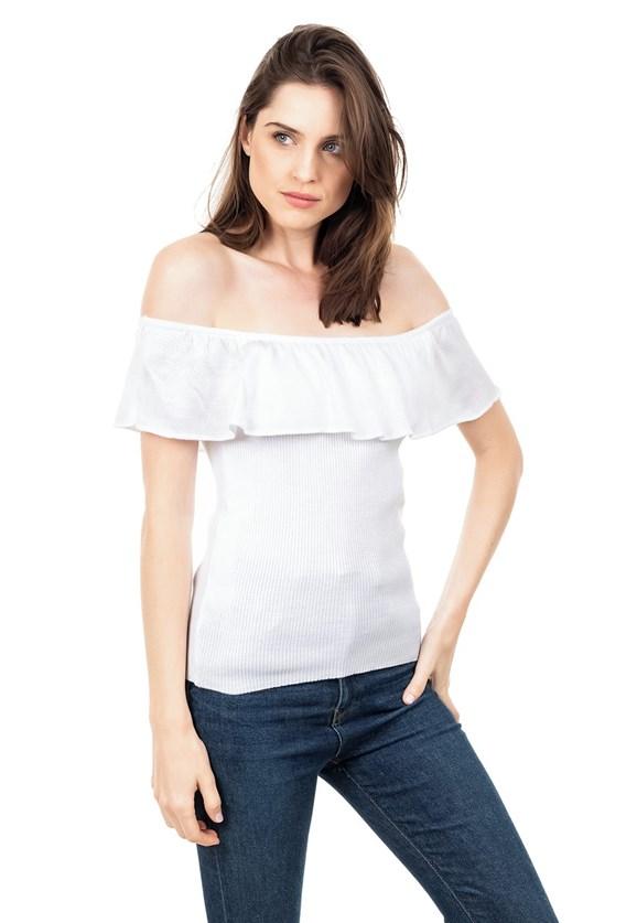 Blusa de Tricot Ciganinha Ombro a Ombro Canelada Feminina Branco