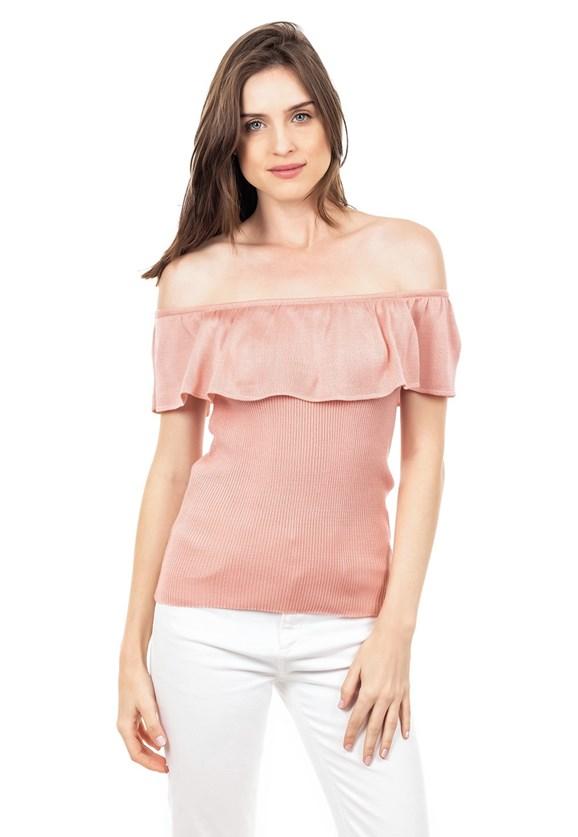 Blusa de Tricot Ciganinha Ombro a Ombro Canelada Feminina Rosa
