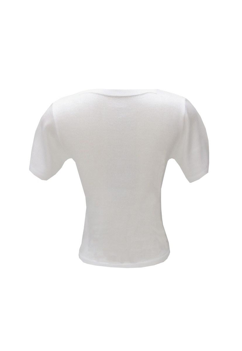 Blusa de Tricot Manga Curta com Detalhe em Nó Feminino Branco
