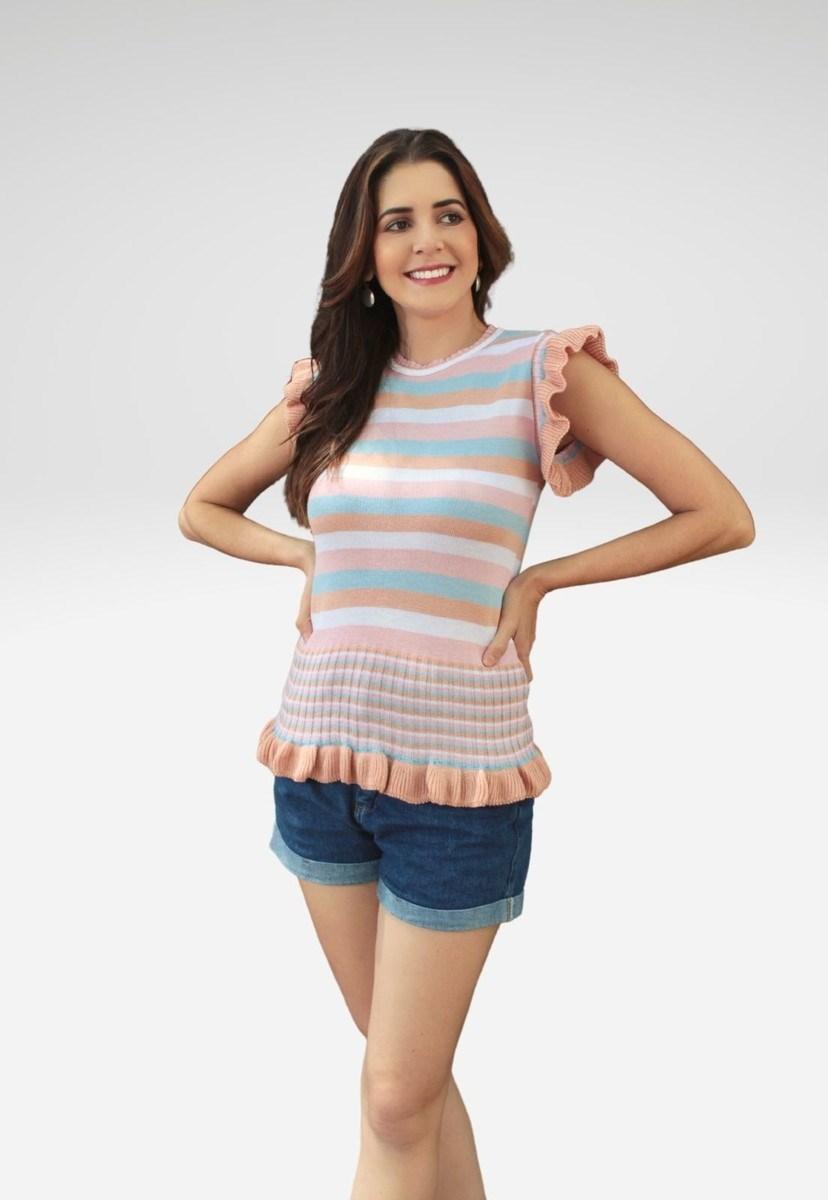 Blusa Feminina Pink Tricot de Tricô Com Babado na Barra Listrada Rosa Claro