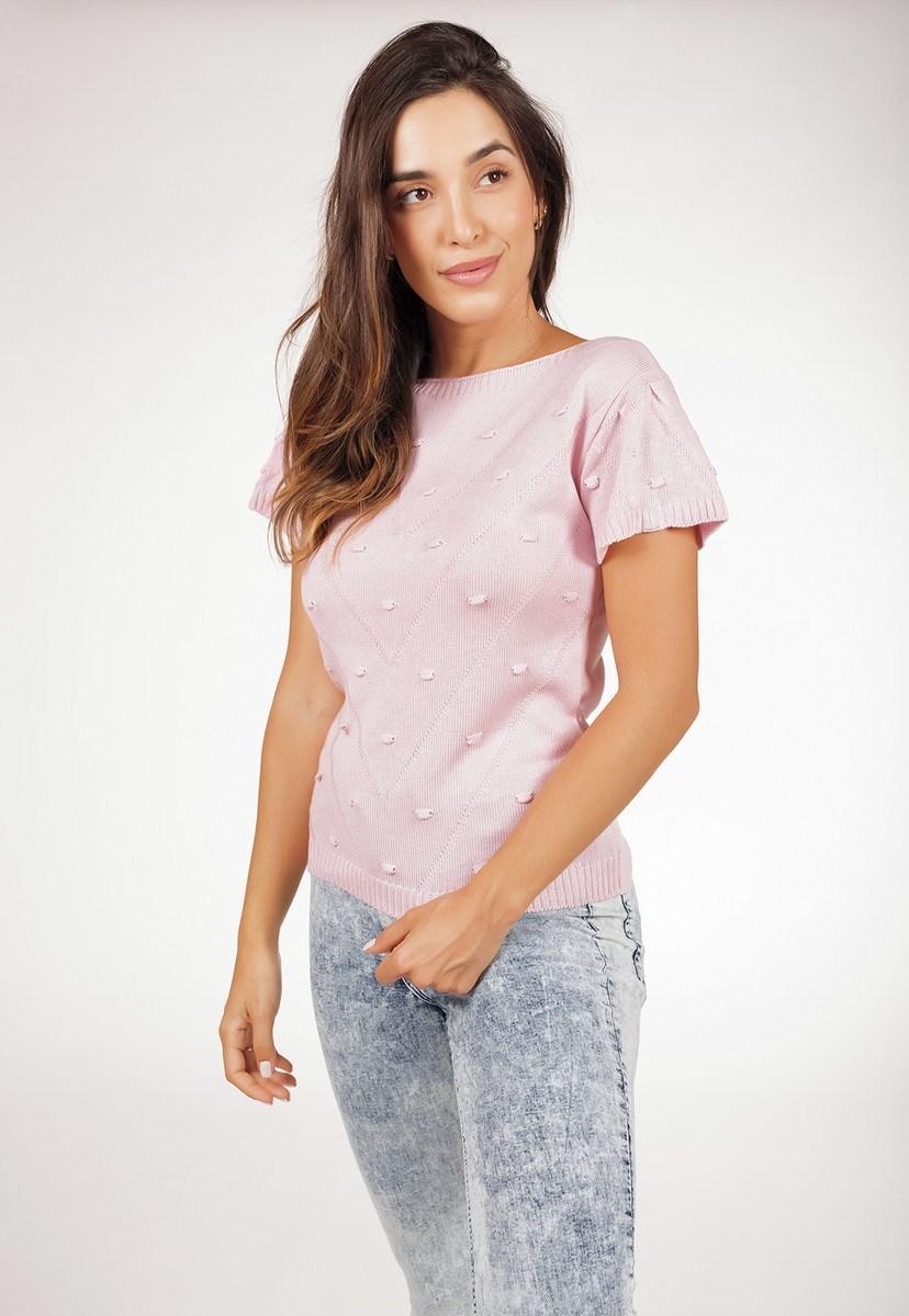 Blusa Feminina Pink Tricot De Tricô Com Manga Curta E Ponto Pérola Rosa Claro