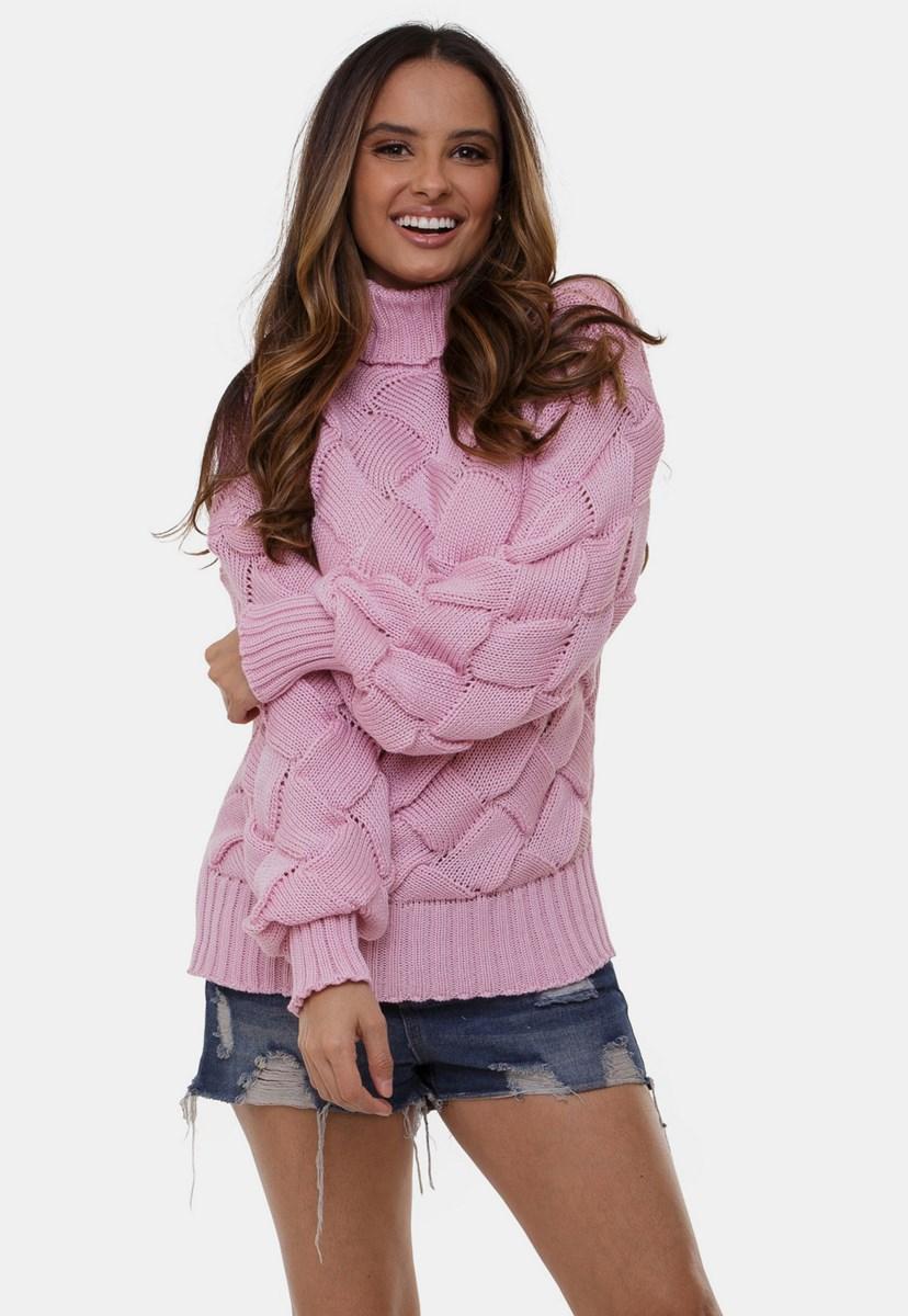 Blusa Losangos Gabi Pink Tricot Gola Alta De Tricô Peça Pronta Feminina Rosa Claro