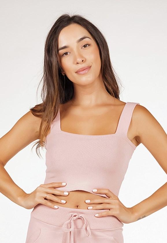 Blusa Pink Tricot Cropped De Tricô Modal Reto Liso Feminino Cor:Rosa;Tamanho:Único