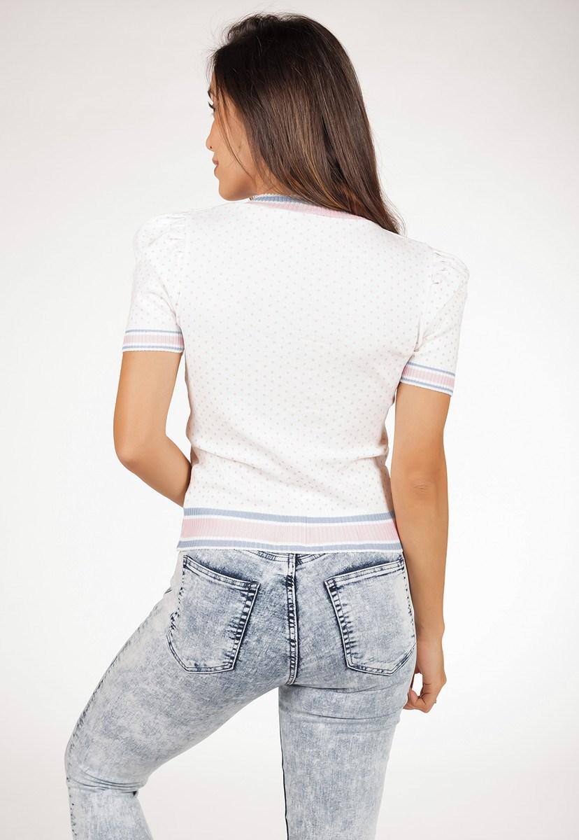 Blusa Pink Tricot Feminina De Tricô Modal Com Estampa Poá E Manga Bufante Feminina Branco