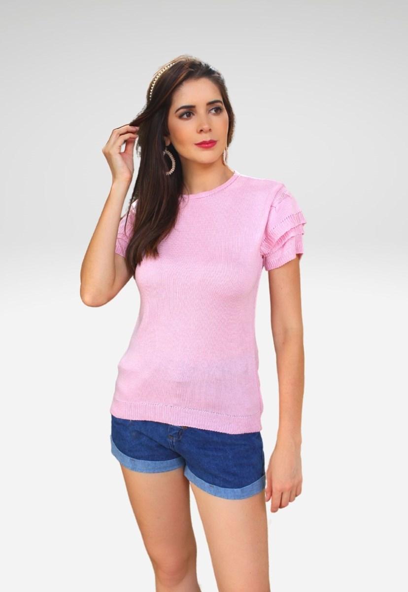 Blusa Pink tricot Manga Curta de Tricô com Babado e Decote Redondo Lisa Rosa