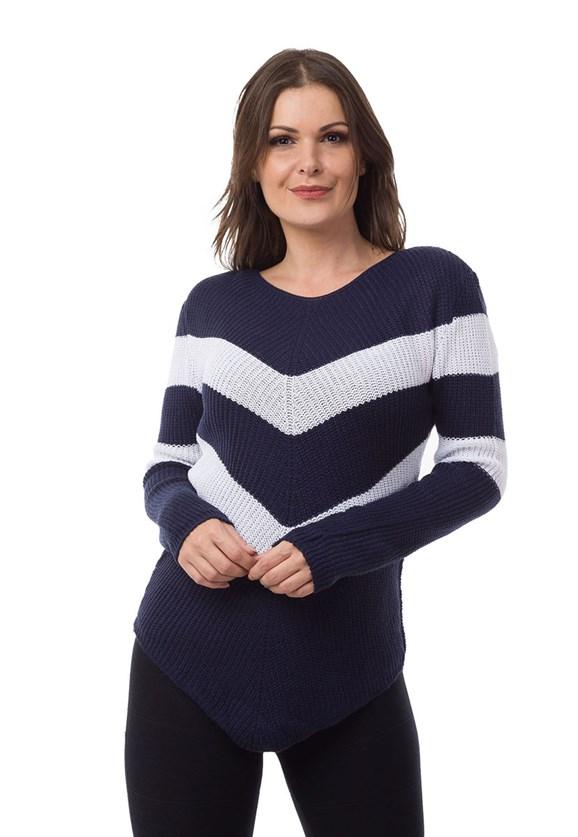 Blusa Pink Tricot(Tricô) Listrada em V Feminino Azul Marinho com Branco