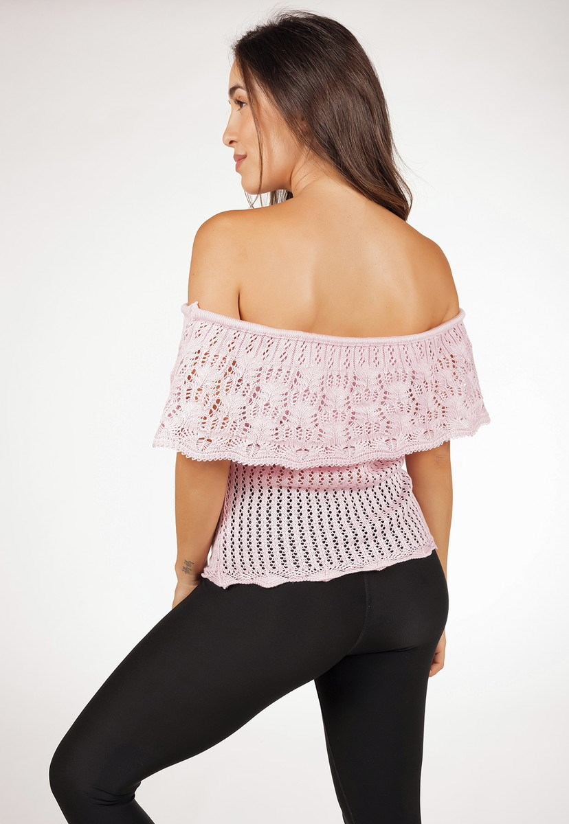 Blusa Regata Ciganinha Pink Tricot De Tricô Rendada Feminina Rosa Claro
