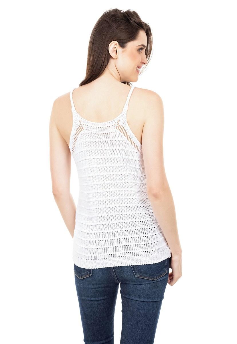 Blusa Regata de Tricot Feminina Alça Branca