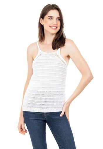 Produto Blusa Regata de Tricot Feminina Alça Branca