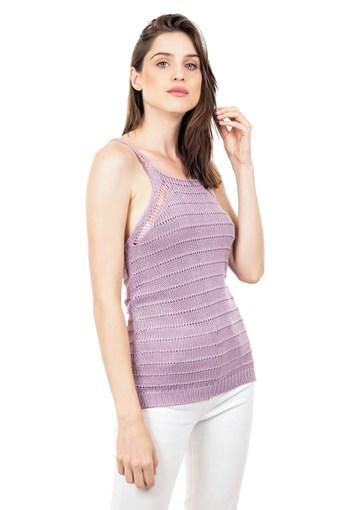Produto Blusa Regata de Tricot Feminina Alça Lilás