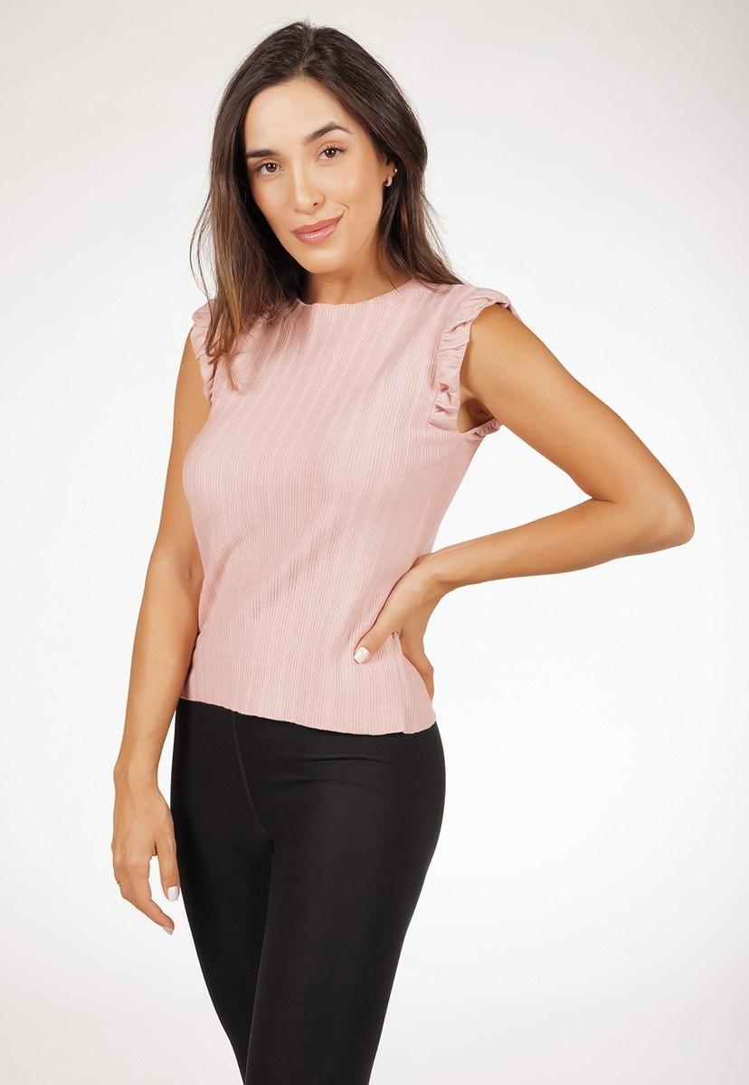 Blusa Regata Pink Tricot Canelado De Tricô Modal Com Babado Feminina Rosa Claro