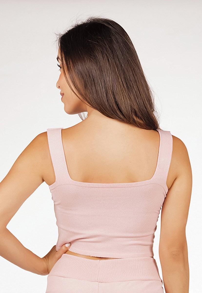 Blusa Regata Pink Tricot Cropped De Tricô Modal Top Reto Liso Feminino Rosa