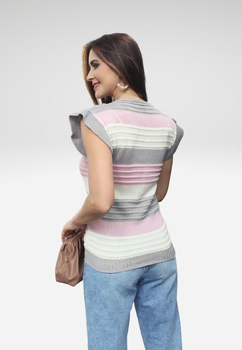 Blusa Regata Pink Tricot De Tricô Canelado Com Bababos E Listras Feminina Cor:Cinza;Tamanho:Único;Gê