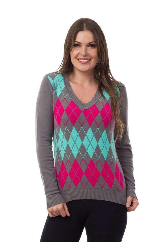 Blusa Suéter Pink Tricot(Tricô) Estampa Xadrez Escocesa Feminino Grafite