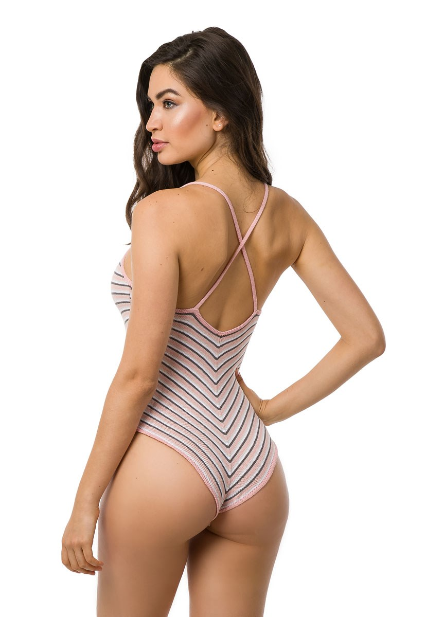Body de Tricô Pink Tricot Missoni Listrado Feminino