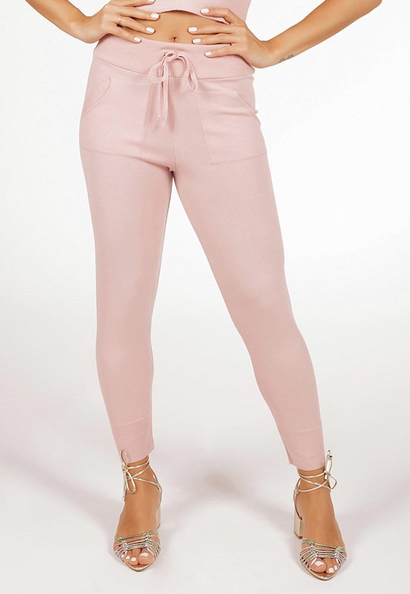 Calça Jogging Pink Tricot De Tricô Modal Comfy Liso Feminino Rosa Claro