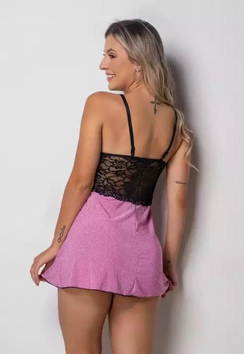 Camisola Pink Tricot Com Detlahes Em Renda E Ligante Estampa Poá Feminino Preto/Roxo
