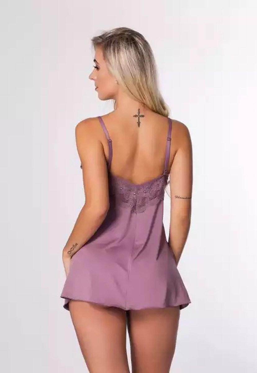 Camisola Pink Tricot Curta Em Microfibra Lisa e Detlahes Em Renda Sem Bojo Feminino Lilás