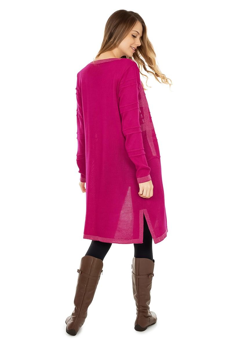 Casaco Longo de Tricô Pink Tricot Listrado com Lurex Feminino Pink