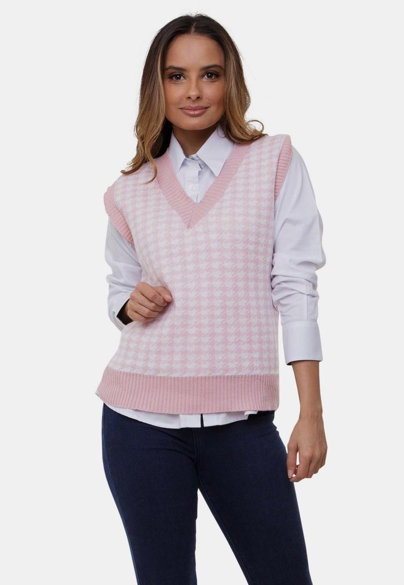 Colete Pink Tricot Grazy De Tricô Com Estampa Pied Poule Feminino Rosa Claro