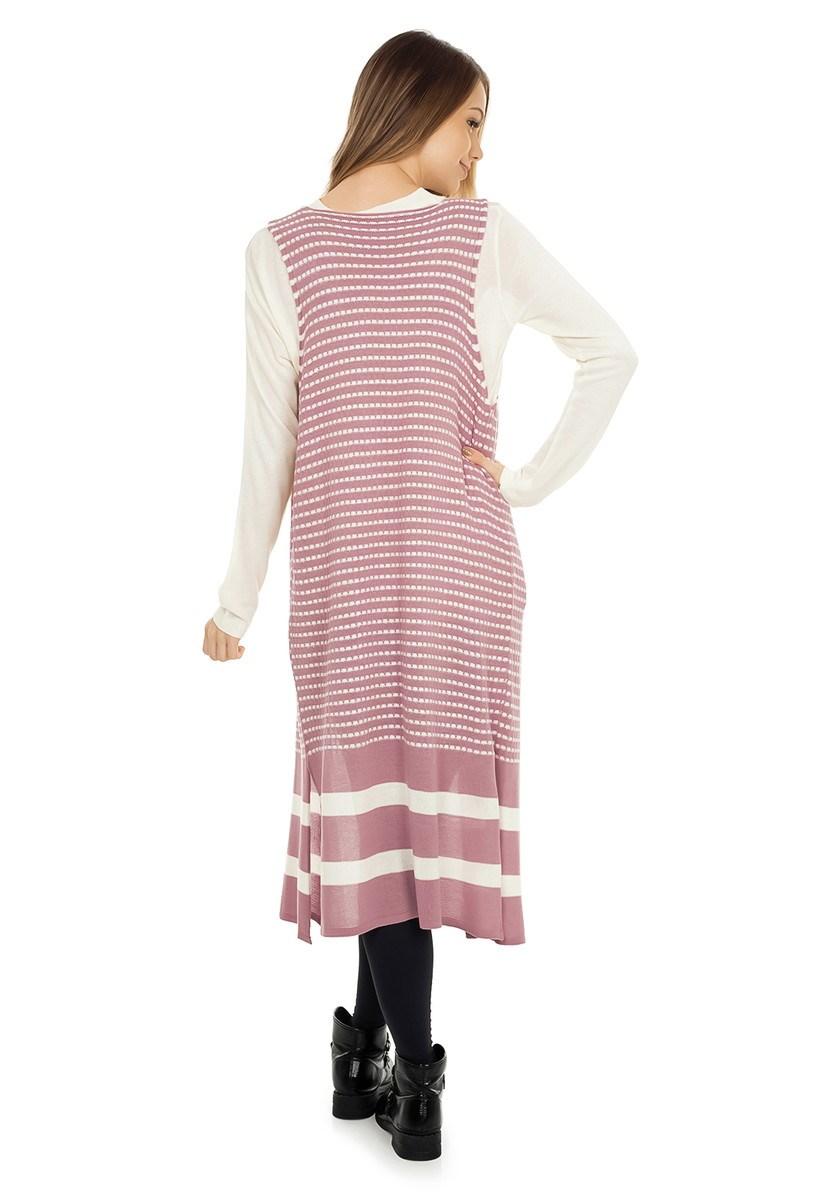Colete Pink Tricot Longo Listrado Feminino