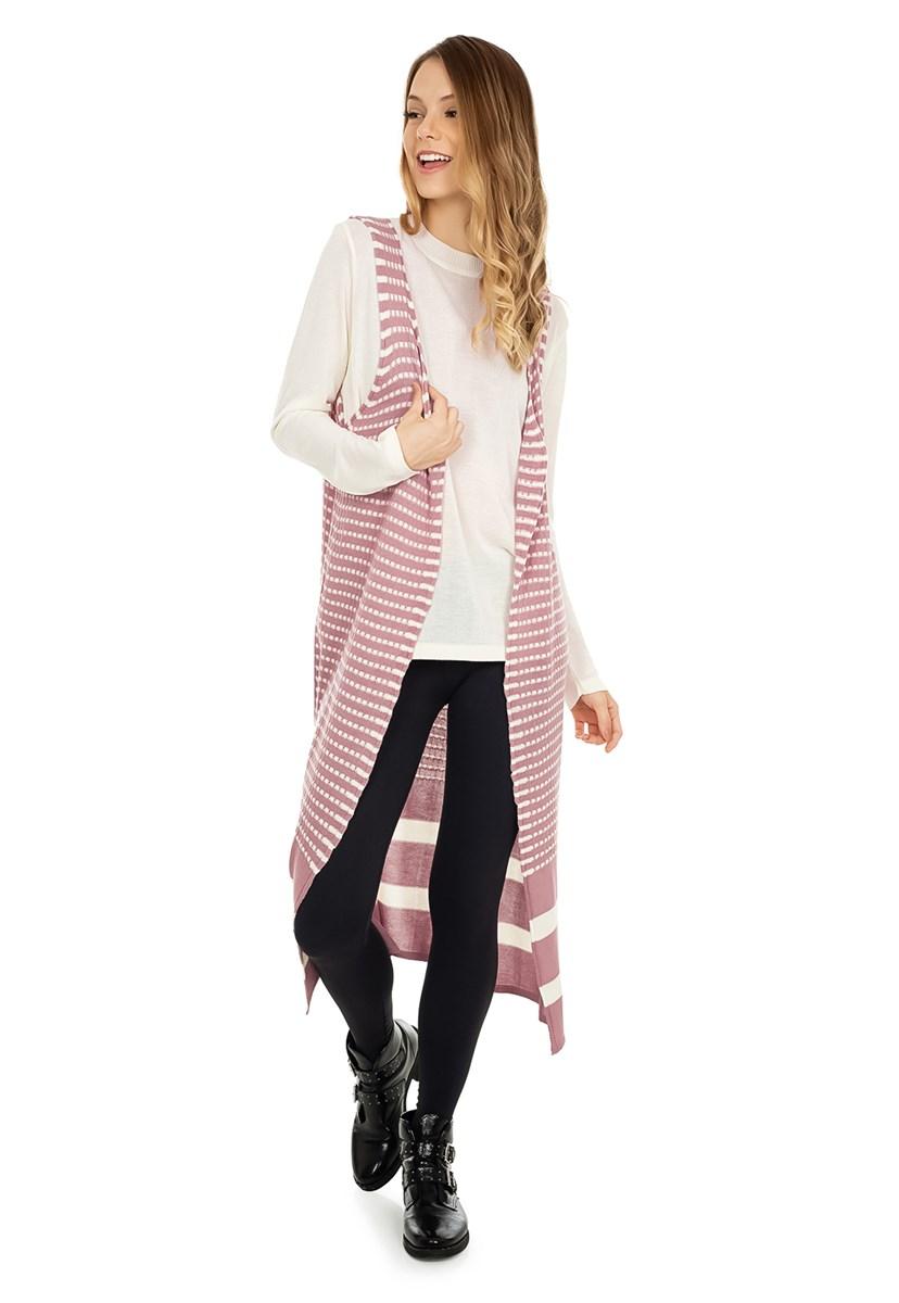 Colete Pink Tricot(Tricô) Longo Estampa Listrada Feminino Rosa Claro