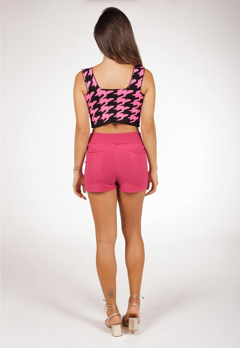 Conjunto De Tricô Modal Pink Tricot Com Blusa Cropped Pied Poule E Short Liso Comfy Feminino Pink