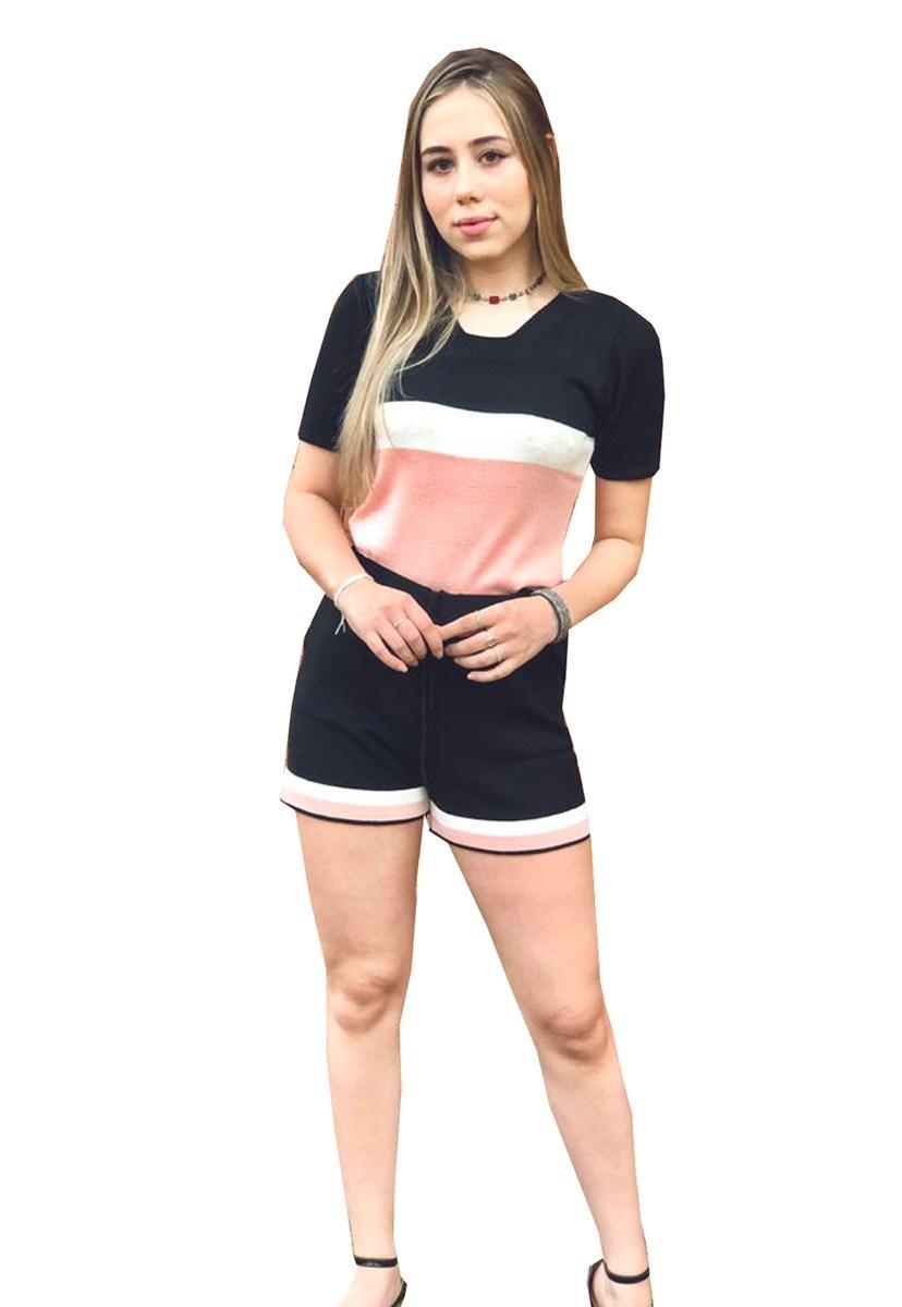Conjunto De Tricô Modal Pink Tricot Com Blusa Manga Curta E Short Comfy Listrado Feminino Preto
