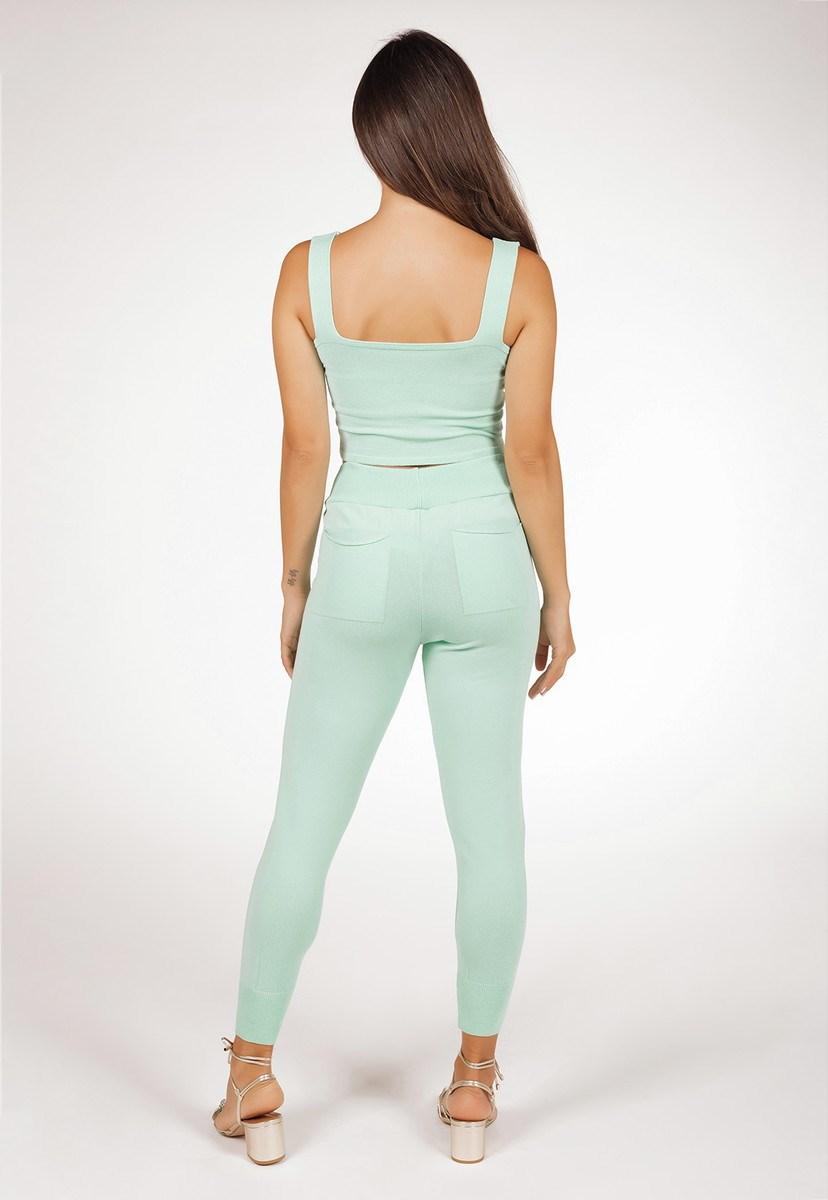 Conjunto Feminino Pink Tricot Com Cropped E Calça Jogging De Tricô Modal Comfy Liso Verde Claro