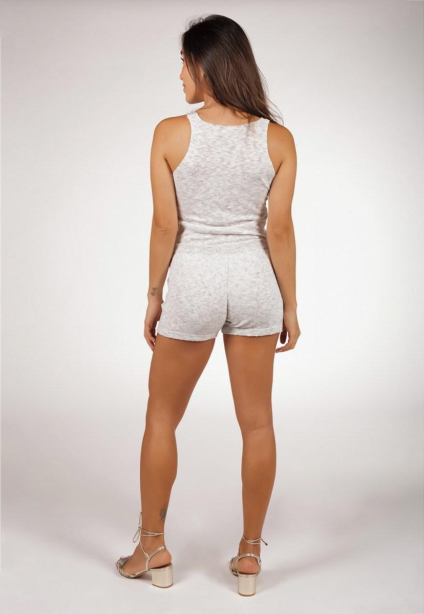 Conjunto Feminino Pink Tricot Comfy Blusa Regata E Shorts De Tricô Flammê Branco