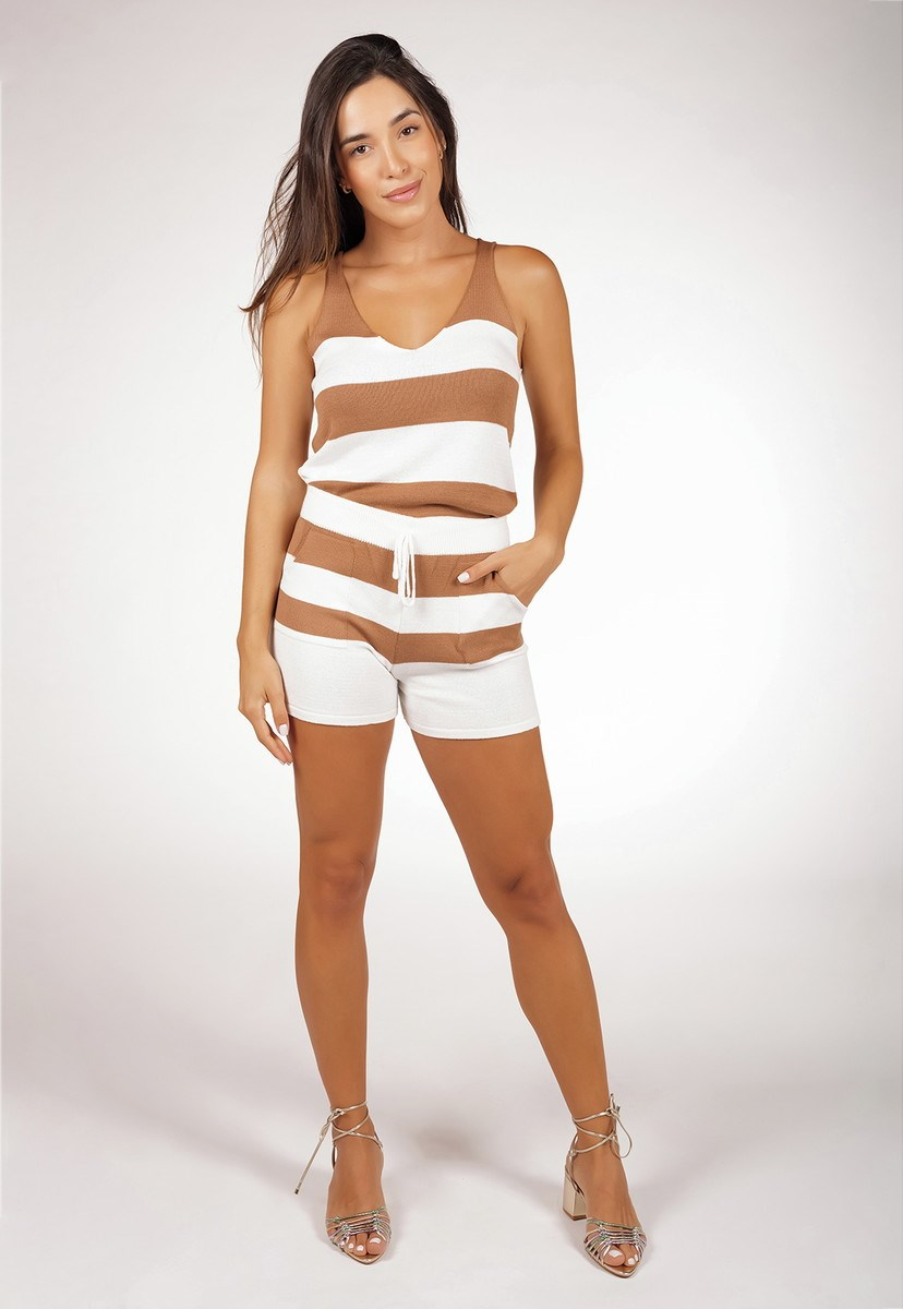 Conjunto Feminino Pink Tricot Comfy Style De Tricô Modal Regata E Short Listrado Dourado/Branco