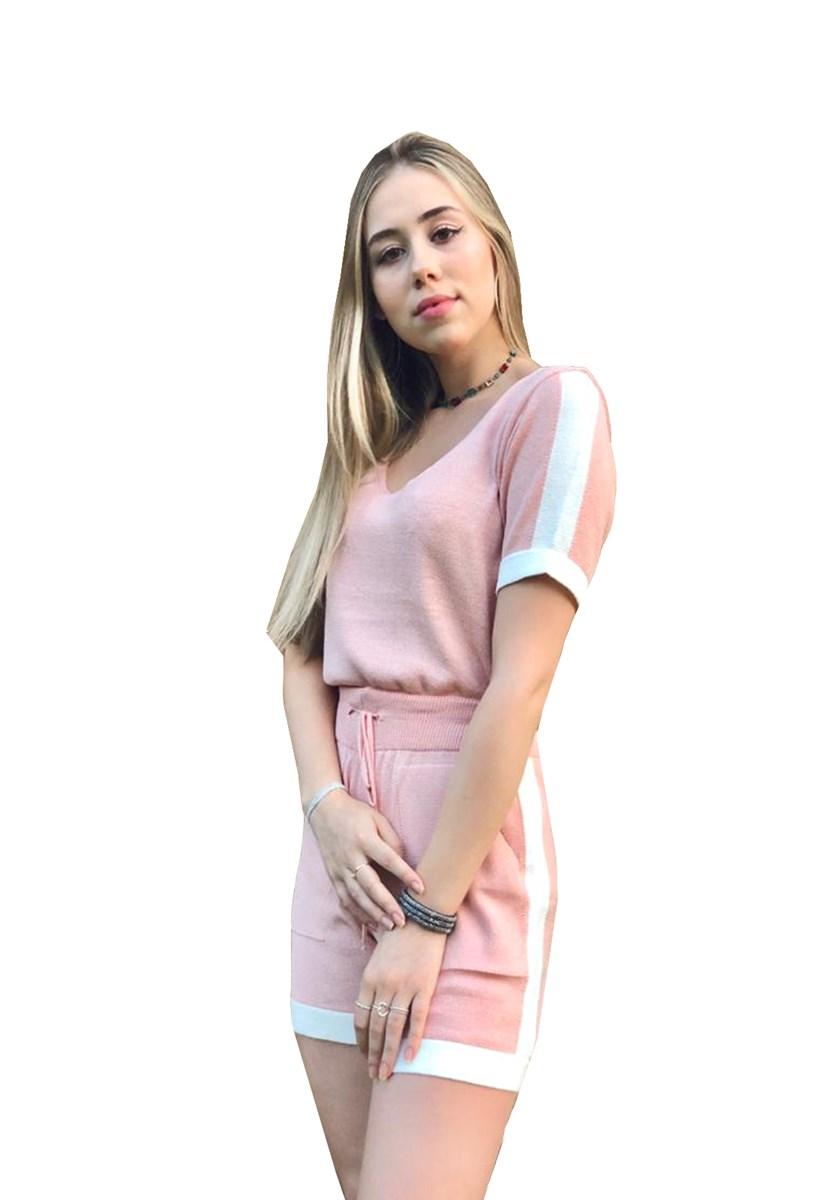 Conjunto Feminino Pink Tricot De Tricô Modal Comfy Com Blusa Manga Curta E Short Listras Rosa
