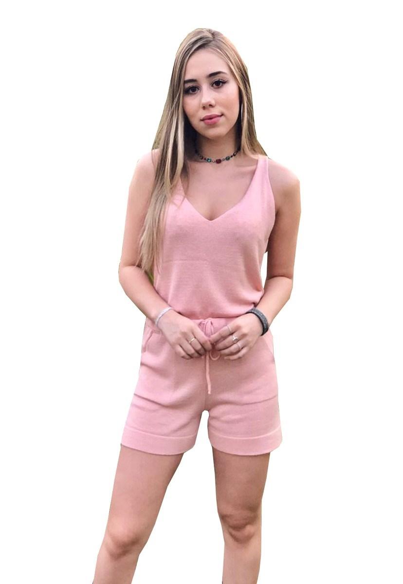 Conjunto Feminino Pink Tricot Moletinho Comfy De Tricô Modal Regata E Short Liso Rosa Claro