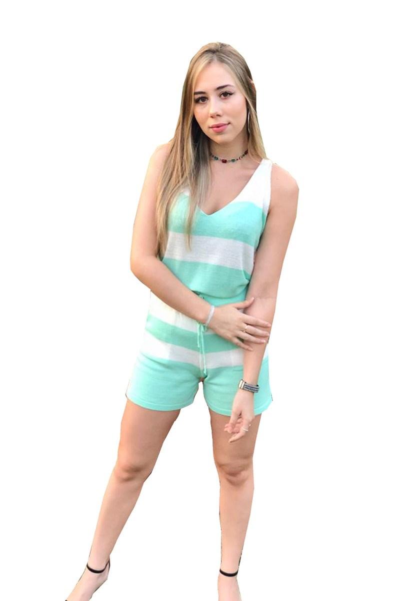 Conjunto Pink Tricot Comfy De Tricô Modal Regata E Short Listrado Feminino Verde Claro