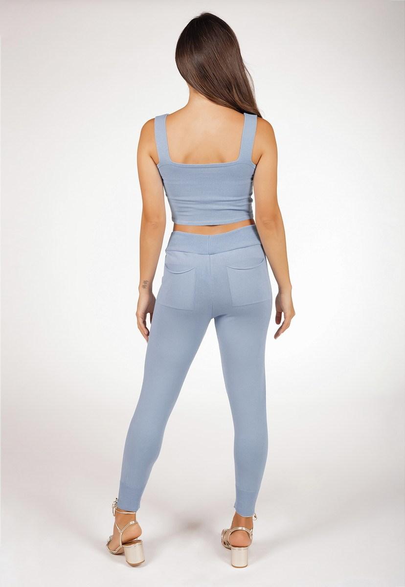 Conjunto Pink Tricot Comfy Liso Com Blusa Cropped E Calça Jogging De Tricô Modal Feminino Azul Claro