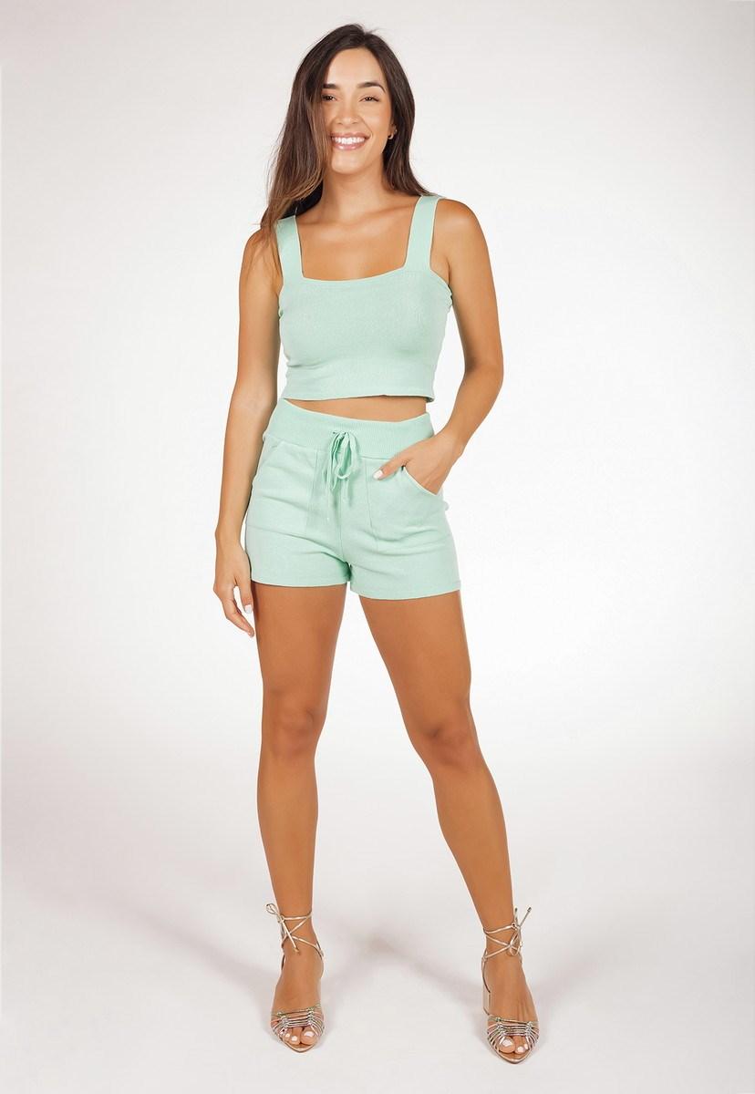 Conjunto Pink Tricot Feminino Com Cropped E Short Comfy De Tricô Modal Liso Verde Claro