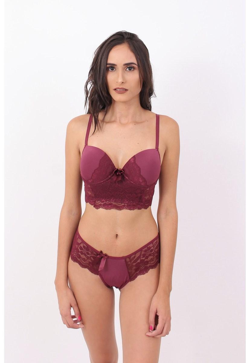 Conjunto Pink Tricot Lingerie Com Bojo E Calcinha Conforto Microfibra Rendada Feminino Bordô