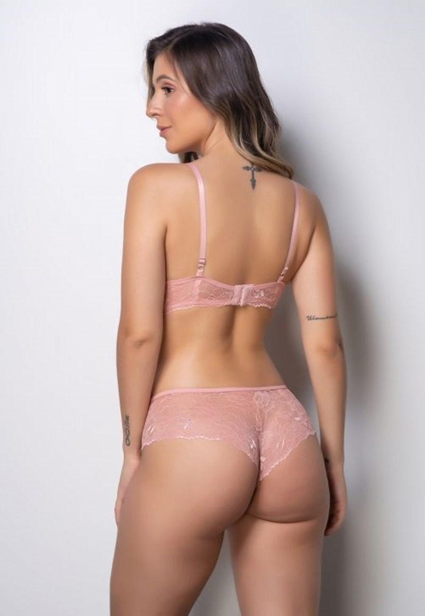 Conjunto Pink Tricot Lingerie Sutiã Com Bojo E Calcinha Conforto Em Renda Rosa Claro