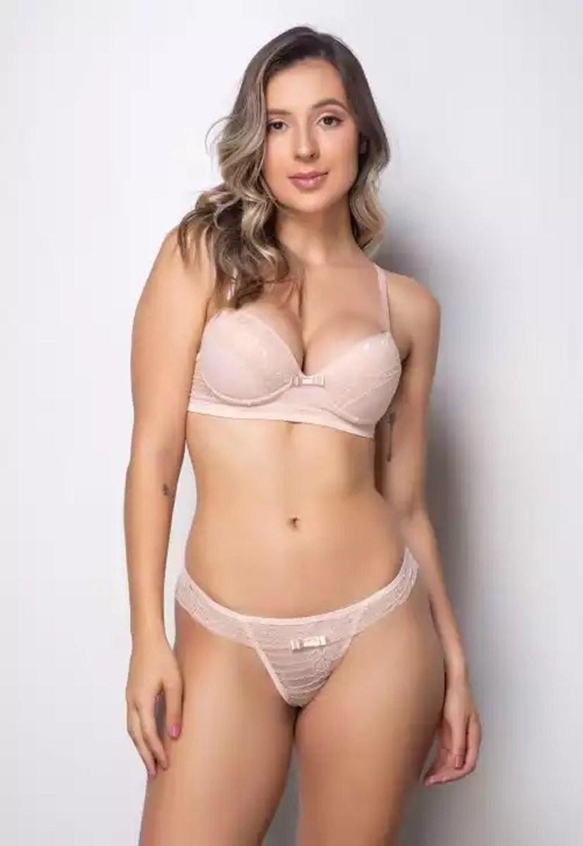 Conjunto Pink Tricot Lingerie Sutiã Com Bojo E Calcinha Fio Dental Renda Bege