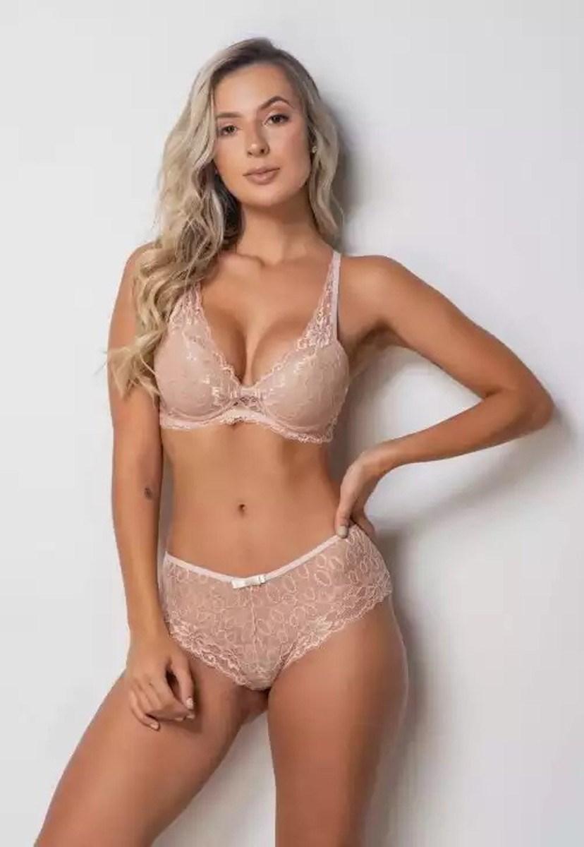 Conjunto Pink Tricot Lingerie Sutiã Cropped Com Bojo E Calcinha Caleçon Renda Feminino Bege