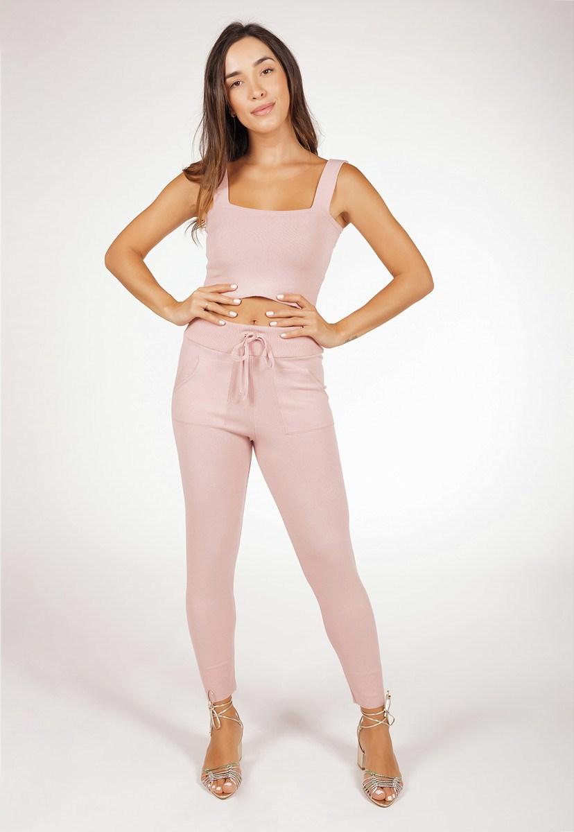 Conjunto Pink Tricot Liso Com Cropped E Calça Jogger De Tricô Modal Moletinho Feminino Rosa Claro